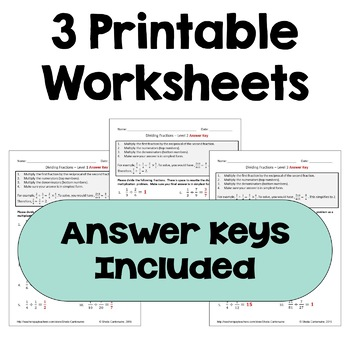 Dividing Fractions Worksheets (Differentiated with 3 Levels)