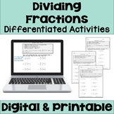 Dividing Fractions Worksheets (Differentiated)