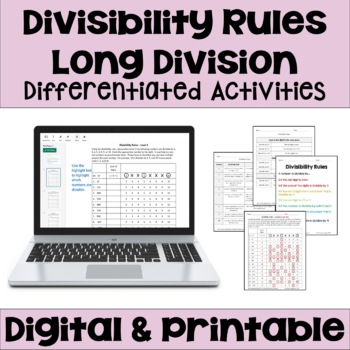 Divisibility Rules Worksheets (Differentiated with 3 Levels)