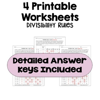 divisibility rules worksheets differentiated with  levels  tpt divisibility rules worksheets differentiated with  levels
