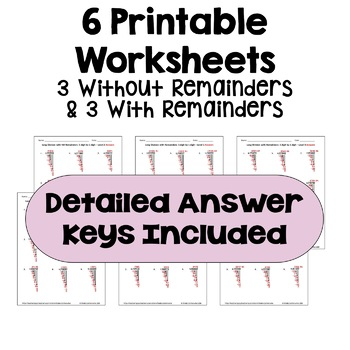 Long Division Worksheets: 5 Digit by 1 Digit (Differentiated with 3 Levels)