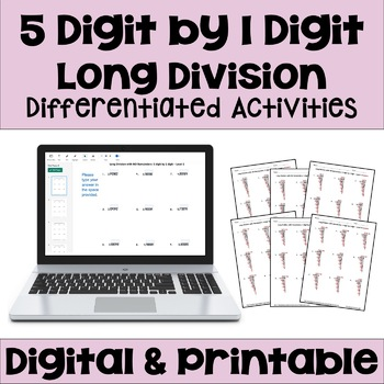 Long Division Worksheets: 5 Digit by 1 Digit (3 Levels)