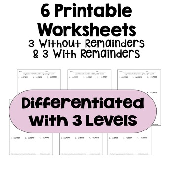Long Division Worksheets: 5 Digit by 2 Digit (Differentiated with 3 Levels)