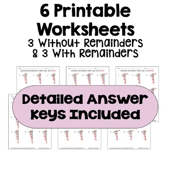 Long Division Worksheets: 4 Digit by 1 Digit (Differentiated with 3 Levels)