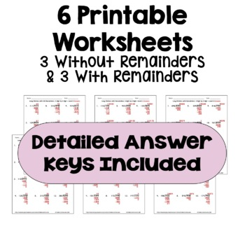 Long Division Worksheets: 4 Digit by 3 Digit (Differentiated with 3 Levels)