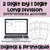 Long Division Worksheets: 2 Digit by 1 Digit (Differentiat