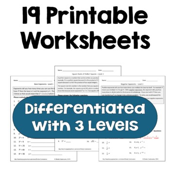 Exponents & Square Roots Worksheets