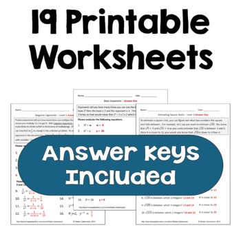 Exponents and Square Roots Worksheet BUNDLE (Differentiated)