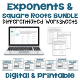 Exponents and Square Roots Worksheet BUNDLE