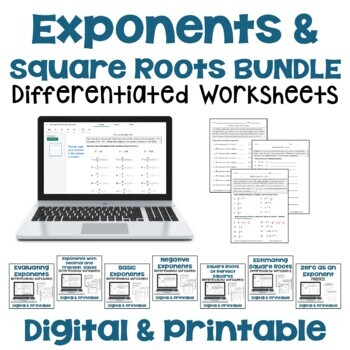 Exponents and Square Roots Worksheet BUNDLE by Sheila Cantonwine