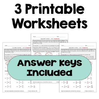 Equivalent Fractions Worksheets (Differentiated with 3 Levels)