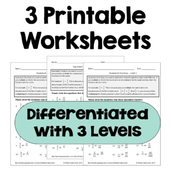 Equivalent Fractions Differentiated Worksheets