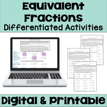 Equivalent Fractions Differentiated Worksheets by Sheila ...