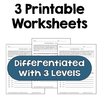 Evaluating Exponents Worksheets (Differentiated)