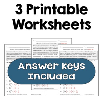 Exponents with Decimal and Fraction Bases Worksheets (Differentiated)