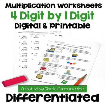 Multiplication Worksheets: 4 Digit by 1 Digit (3 Levels pl
