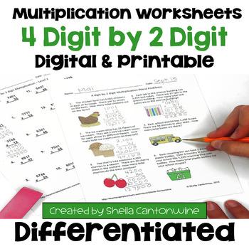 Multiplication Worksheets: 4 Digit by 2 Digit (3 Levels pl