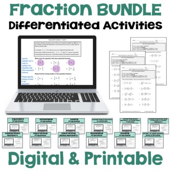 Fraction Worksheet BUNDLE (3 Levels)