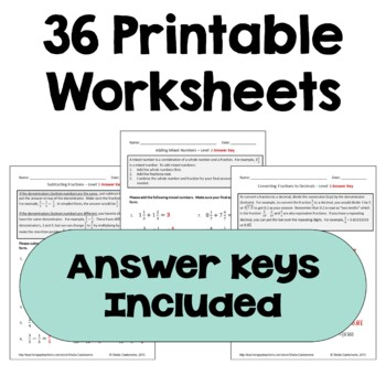 Fraction Worksheet BUNDLE  (Add, Subtract, Multiply & Divide Fractions)