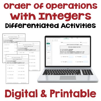 Order of Operations with Integers Worksheets (Differentiated with 3 Levels)