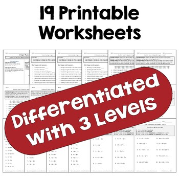 Integer Worksheet BUNDLE (3 Levels)