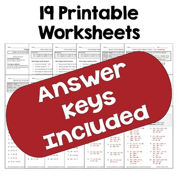 Integers Worksheet BUNDLE (Differentiated)