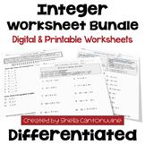 Integer Worksheet BUNDLE (Differentiated with 3 Levels)