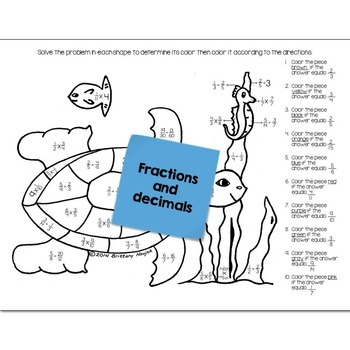 Under the Sea Math Practice Color by Number Grades K-8 Bundle