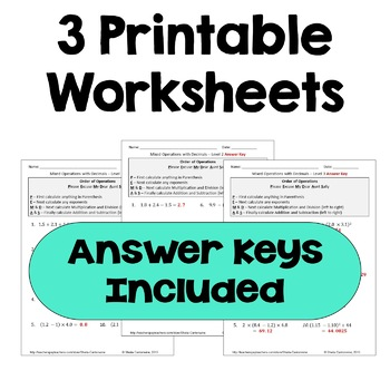 Mixed Operations with Decimals Worksheets (Differentiated)