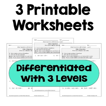 order of operations with decimals differentiated worksheets  tpt order of operations with decimals differentiated worksheets