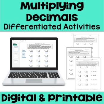 Multiplying Decimals Worksheets (Differentiated)