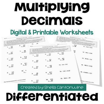 Multiplying Decimals Worksheets (3 Levels)