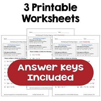 Multiplying and Dividing Integers Differentiated Worksheets