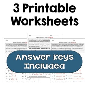 Negative Exponents Worksheets (Differentiated)