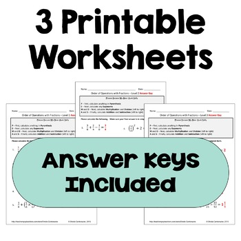 Order of Operations with Fractions Worksheets (3 Levels)