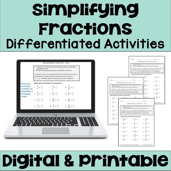 Reducing Fractions to Lowest Terms Worksheets (Differentiated)