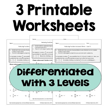 Simplifying Fractions Differentiated Worksheets