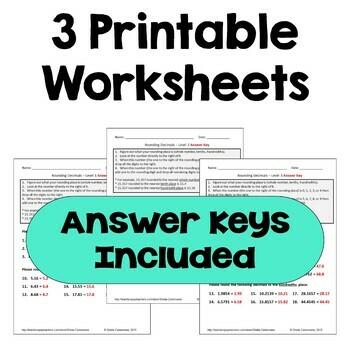 Rounding Decimals Worksheets (3 Levels)