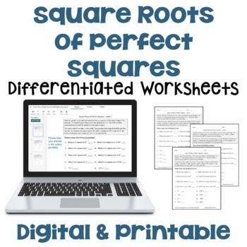 Square Roots Of Perfect Squares Differentiated Worksheets By Sheila