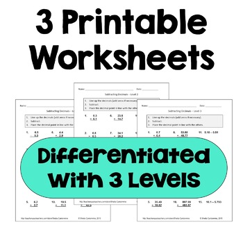 Subtracting Decimals Worksheets  (Differentiated)