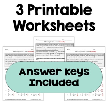 Subtracting Fractions Differentiated Worksheets