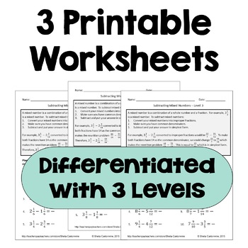 Subtracting Mixed Numbers Worksheets (Differentiated with 3 Levels)