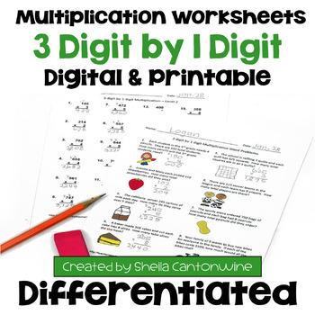 Multiplication Worksheets: 3 Digit by 1 Digit (3 Levels pl