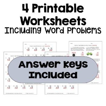 Multiplication Worksheets: 3 Digit by 2 Digit (3 Levels plus word problems)
