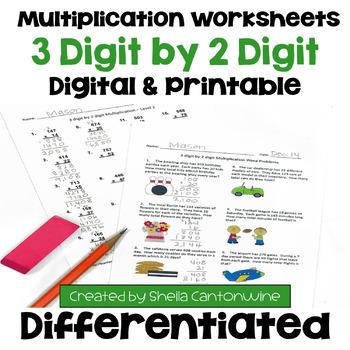 Multiplication Worksheets 3 Digit By 2 Digit 3 Levels Plus Word