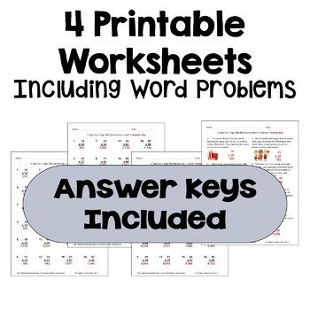 Multiplication Worksheets: 2 Digit by 2 Digit (3 Levels PLUS word problems)