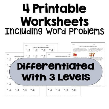 Multiplication Worksheets: 2 Digit by 2 Digit (3 Levels PLUS word problems)