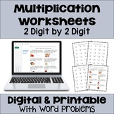 Multiplication Worksheets 2 Digit by 2 Digit with Digital and Printable Options