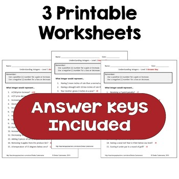 Understanding Integers Worksheets (Differentiated with 3 Levels)