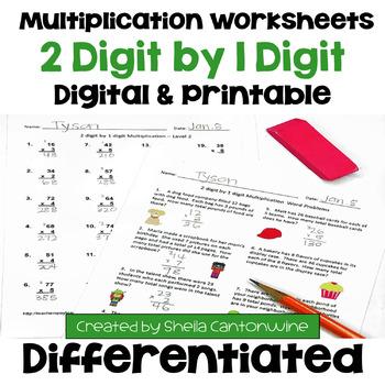 Multiplication Worksheets: 2 Digit by 1 Digit (3 Levels pl